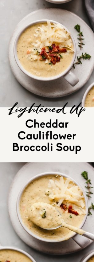 collage of low carb broccoli cheddar soup