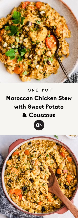 collage of moroccan chicken stew