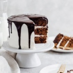chocolate cookie cake on a cake stand