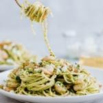pesto shrimp pasta on a plate