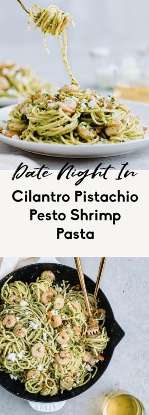 collage of shrimp pesto pasta