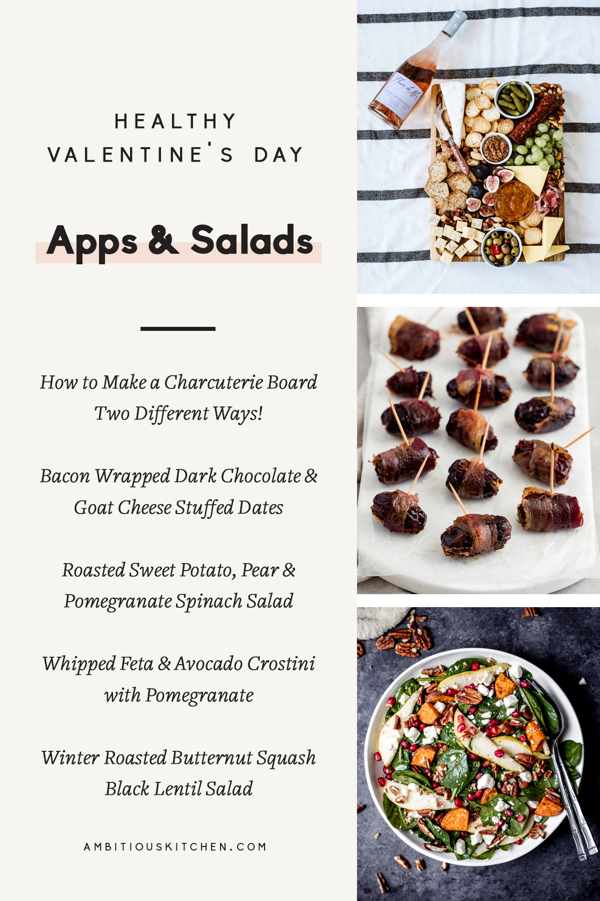 collage of valentine's day apps and salads