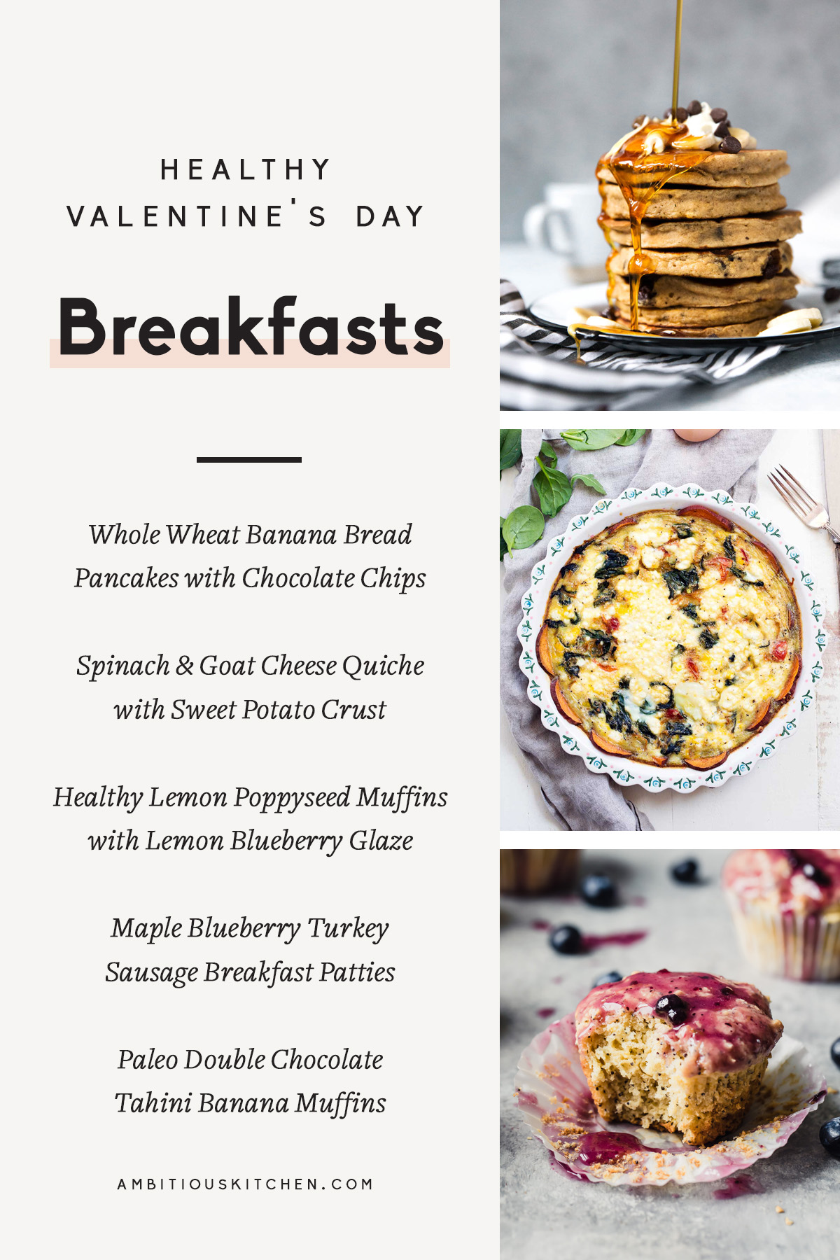 collage of valentine's day breakfasts