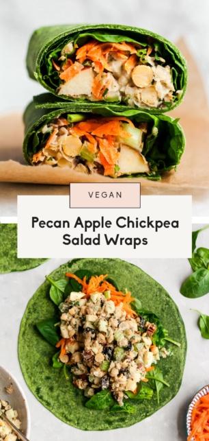 collage of vegan apple chickpea salad wraps
