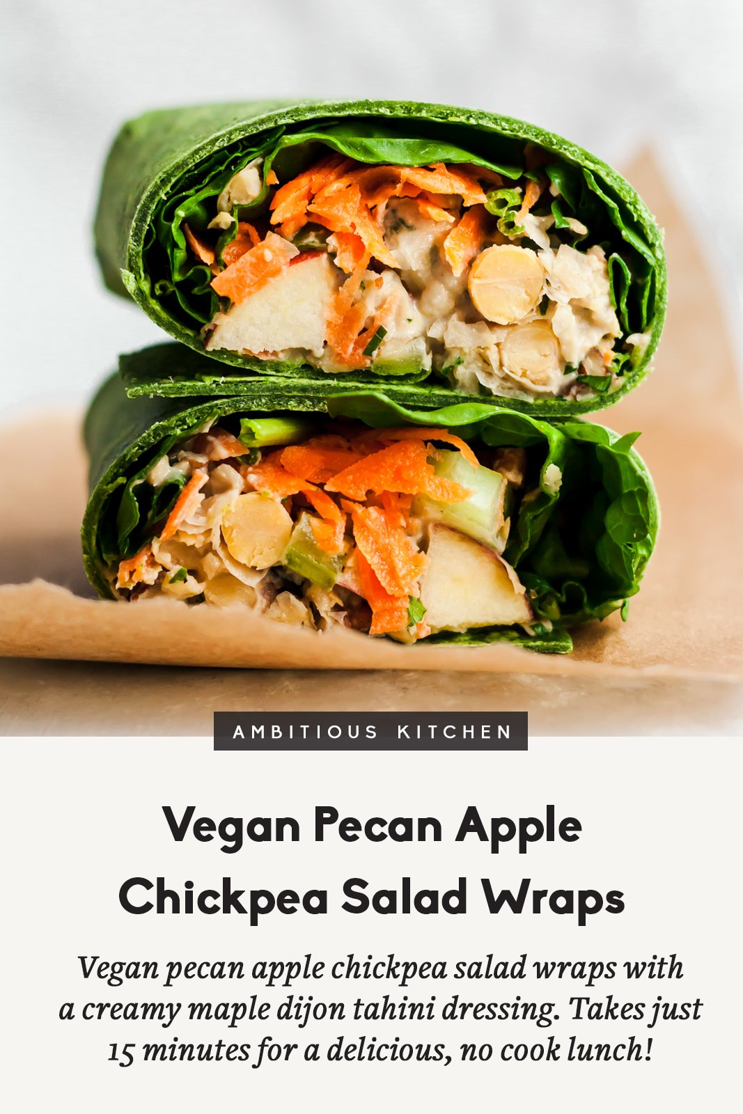 two stacked vegan pecan apple chickpea salad wraps with text overlay