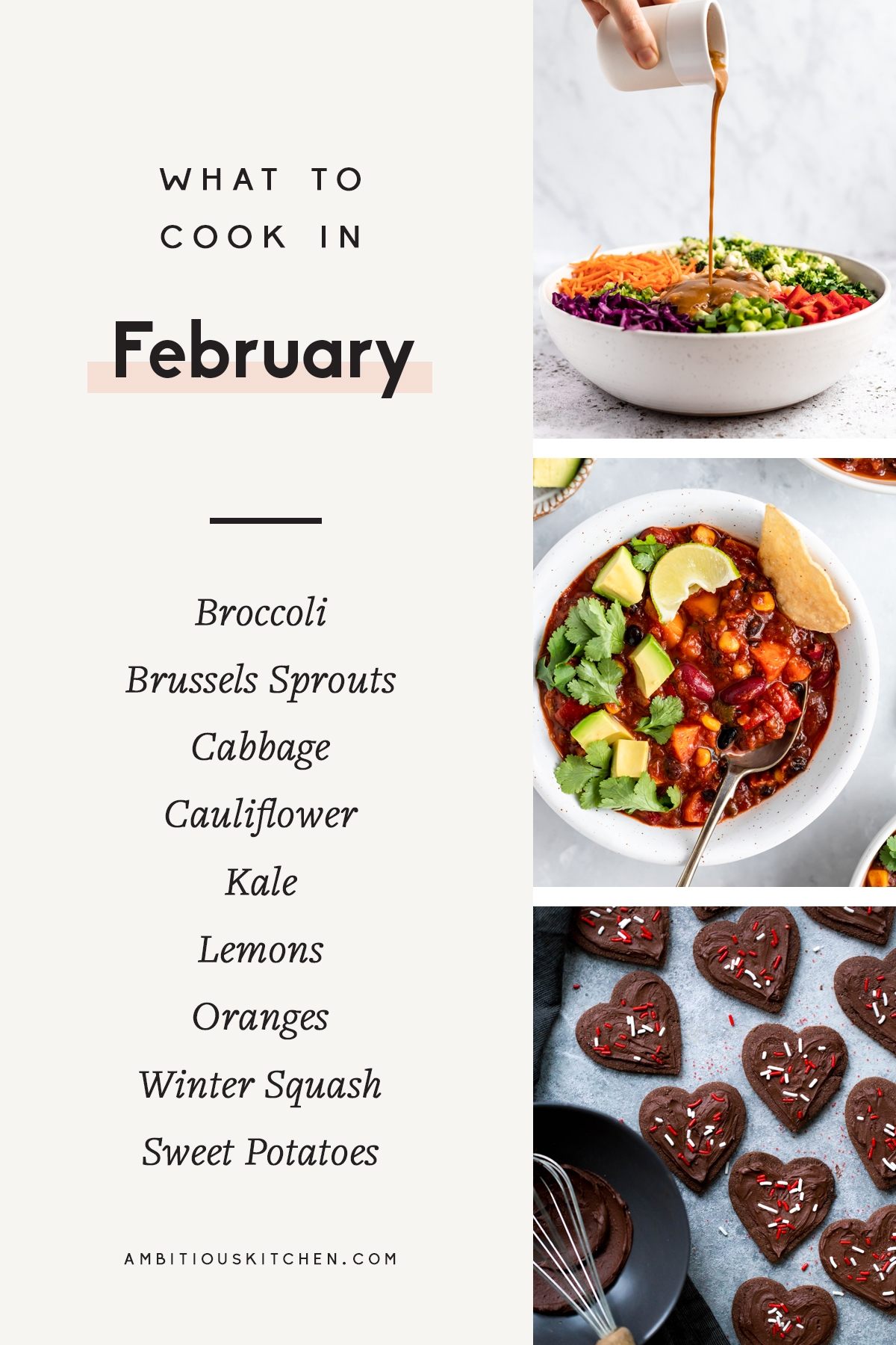 collage of seasonal, healthy recipes to cook in february
