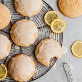 lemon cookies on a wire rack