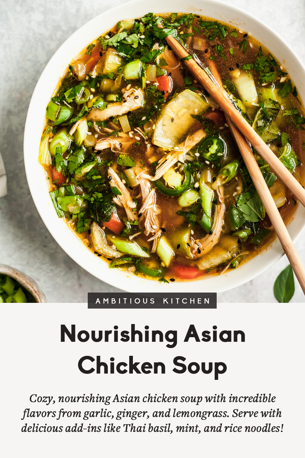 asian chicken soup in a bowl with chopsticks with text overlay