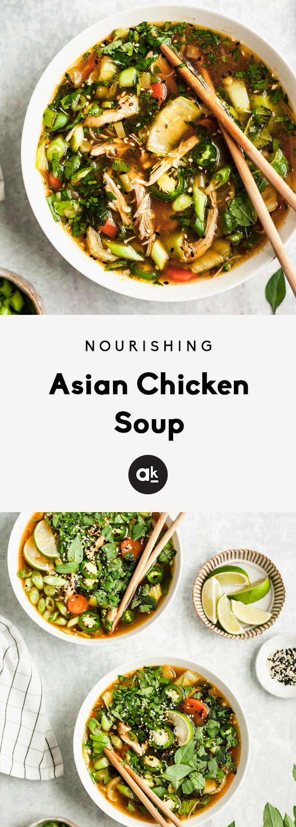 Nourishing asian chicken soup with bok choy, green onion, garlic, ginger, lemongrass and fresh herbs like cilantro, mint and basil. Fresh, flavorful and healthy!