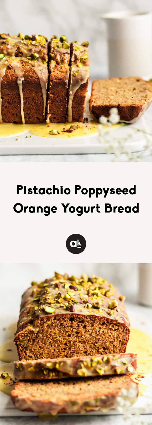Gorgeous pistachio poppyseed orange yogurt bread naturally sweetened with honey, fresh orange juice, and topped with a perfectly sweet orange glaze. A delicious, healthy yogurt bread for spring!