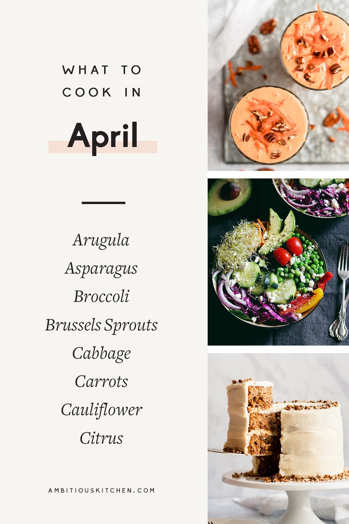 collage of healthy seasonal recipes to cook in april