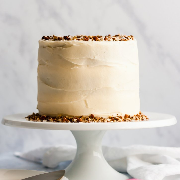 healthy carrot cake on a cake stand