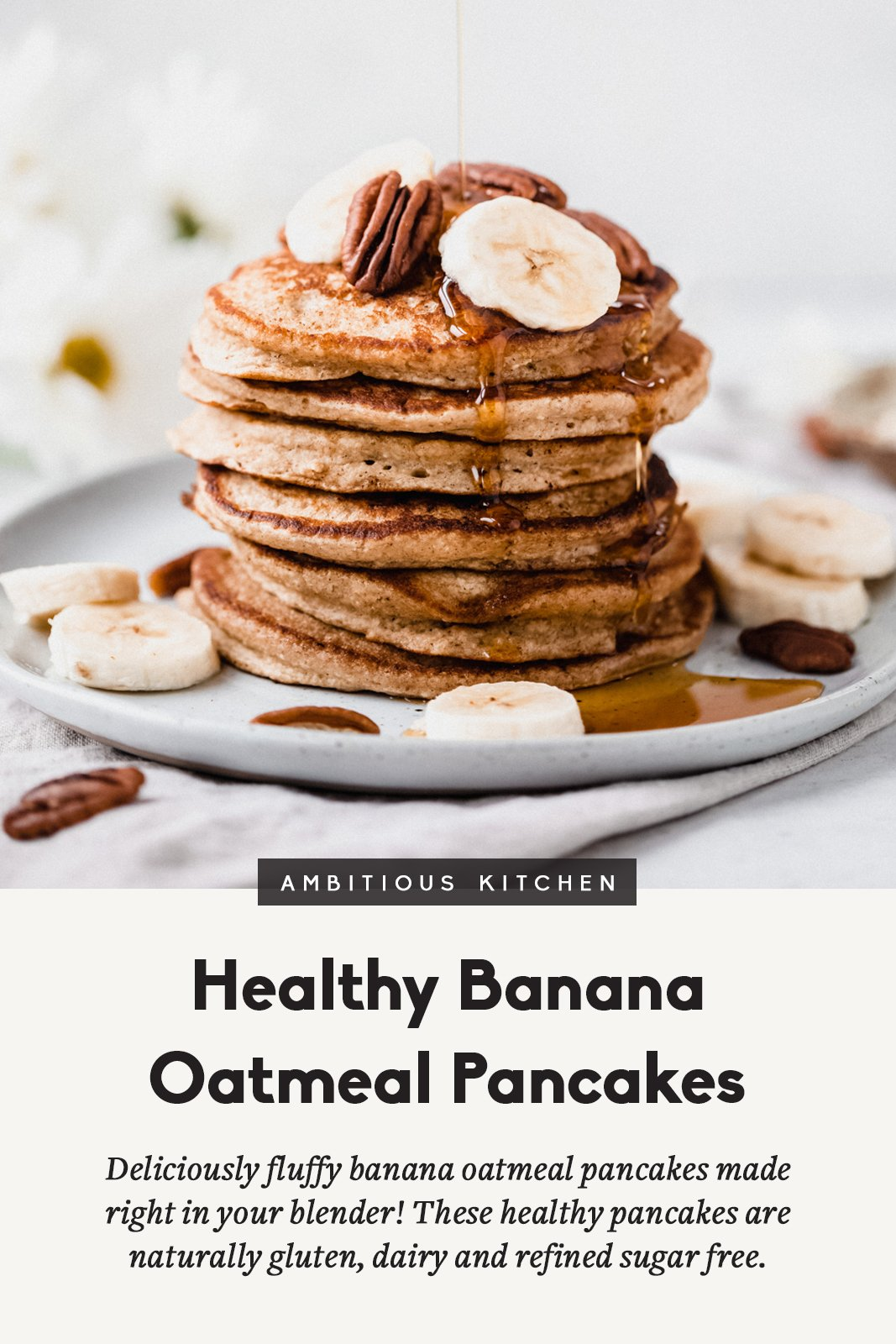 banana oatmeal pancakes in a stack on a plate with text underneath