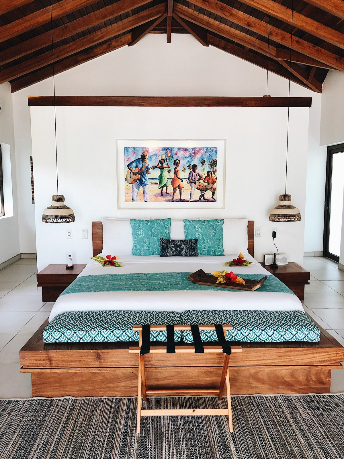 bed in a villa in Belize