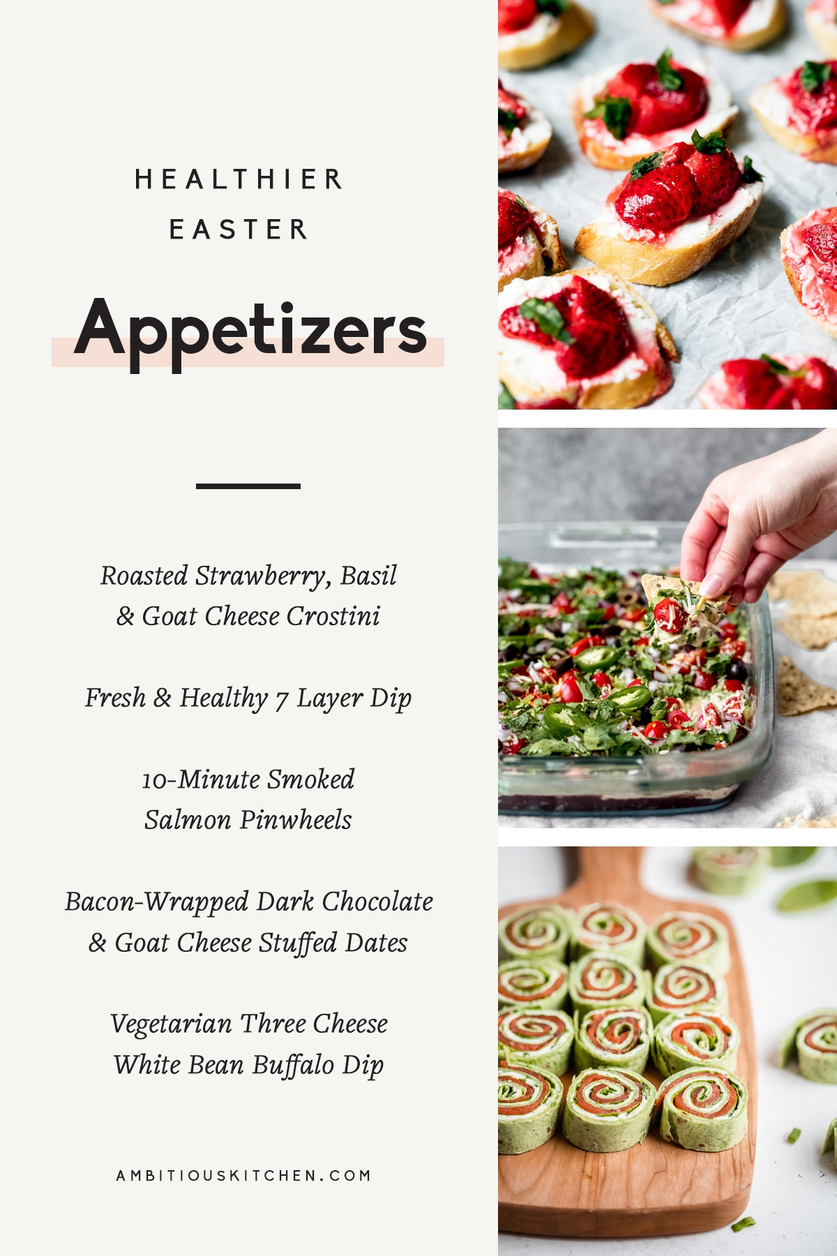 collage of healthier easter appetizers