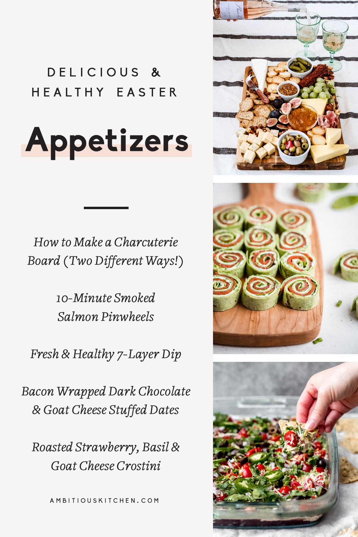 collage of healthy easter appetizers