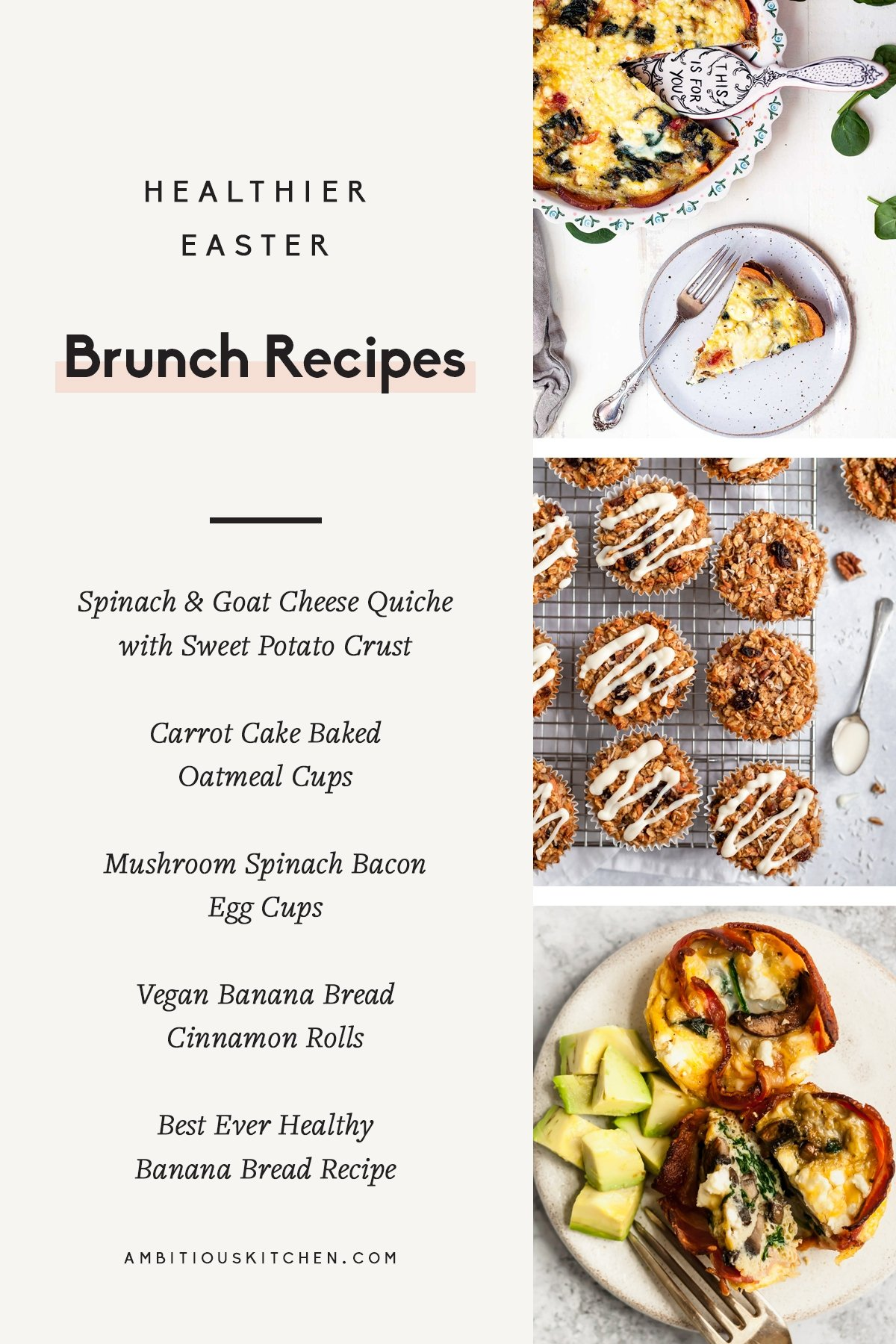 collage of healthier easter brunch recipes