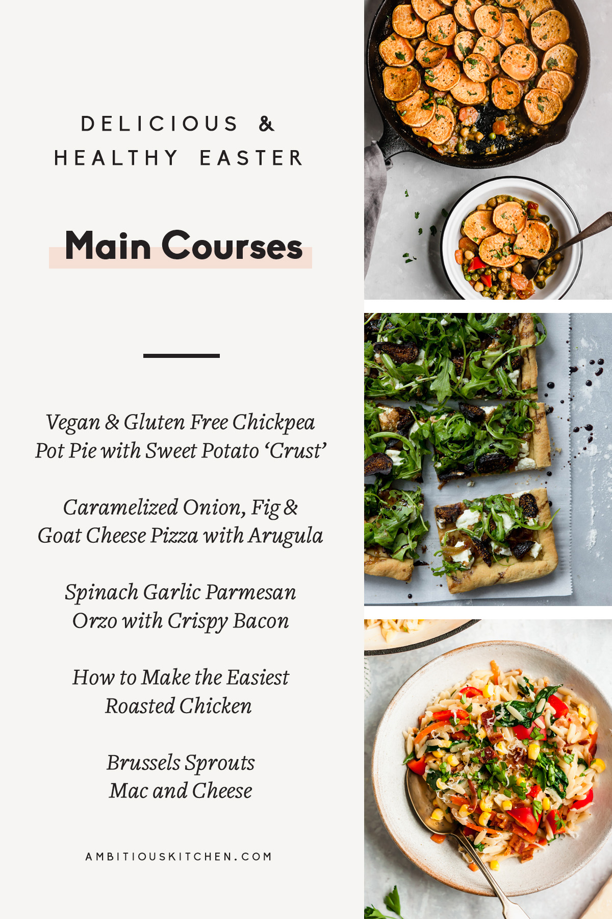 collage of healthy easter main courses