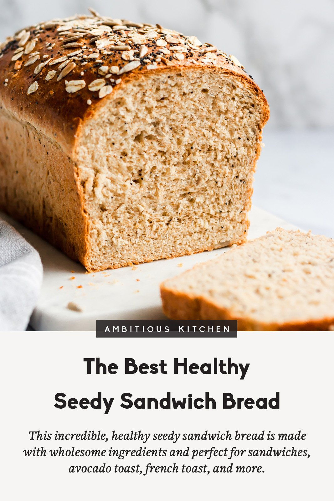 This homemade healthy sandwich bread recipe is soft and made with healthy ingredients like whole wheat flour, sunflower seeds, poppyseeds, sesame seeds, oats, flaxseed and just a touch of honey. You'll love making this for healthy sandwiches, avocado toast, french toast and so much more! THIS IS THE BEST HOMEMADE BREAD EVER!