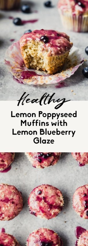 collage of healthy lemon blueberry muffins