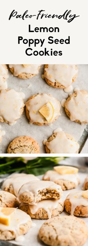 collage of paleo lemon poppy seed cookies