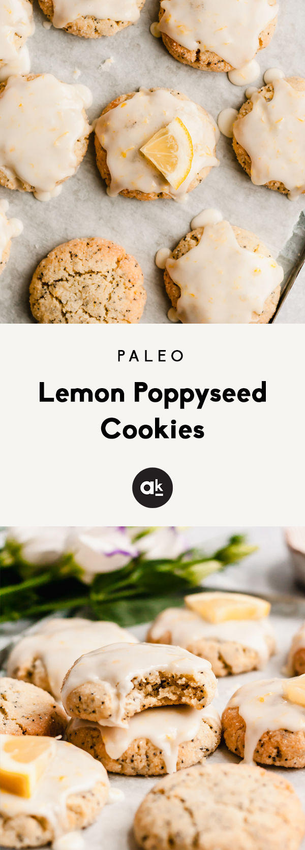 Gorgeous paleo lemon poppyseed cookies made with a mix of nutritious coconut flour and almond flour then topped with an easy, sweet & zesty lemon glaze. The perfect healthy spring treat that's gluten, grain, dairy free and easily vegan!