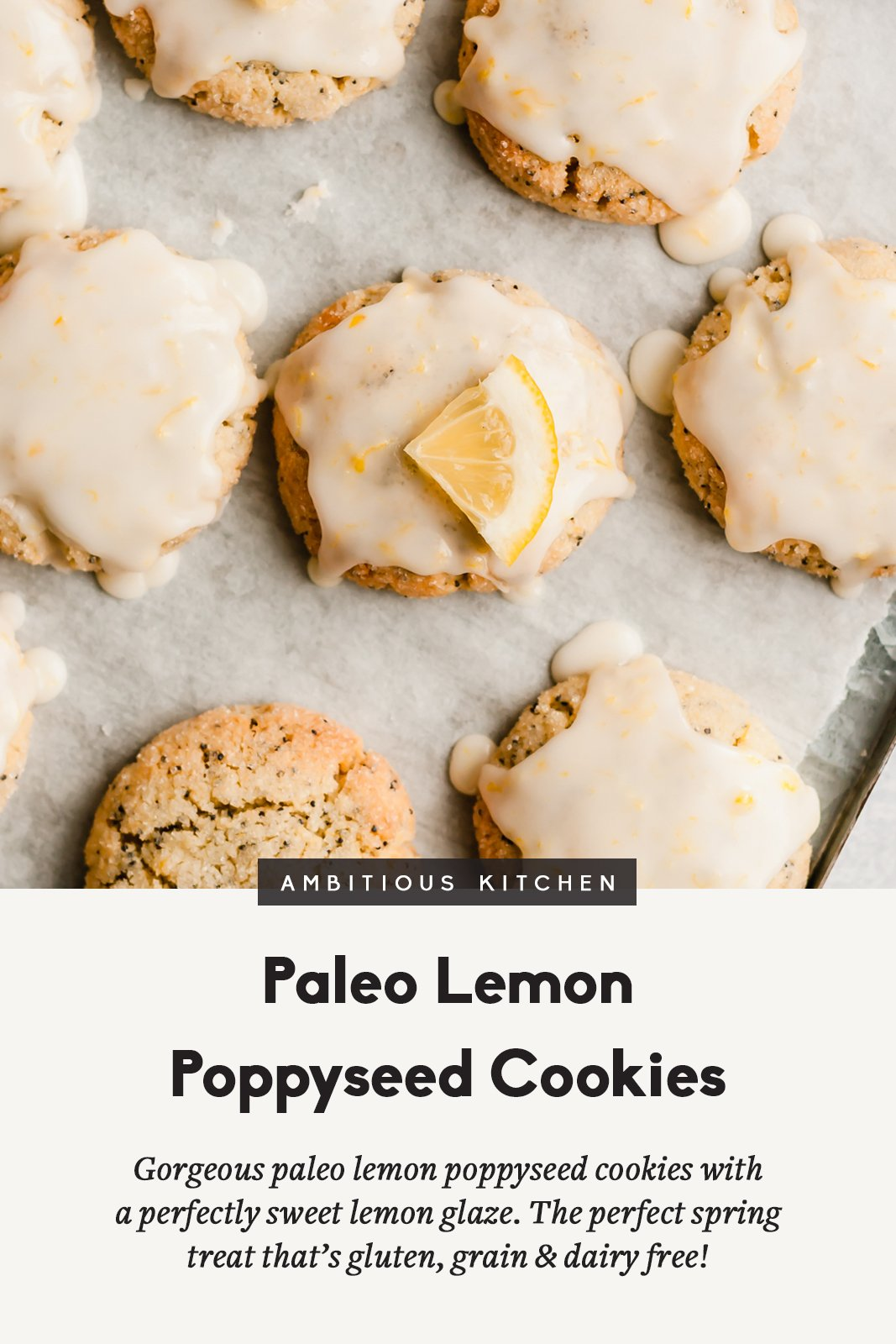 paleo lemon poppyseed cookies on a baking tray with text underneath