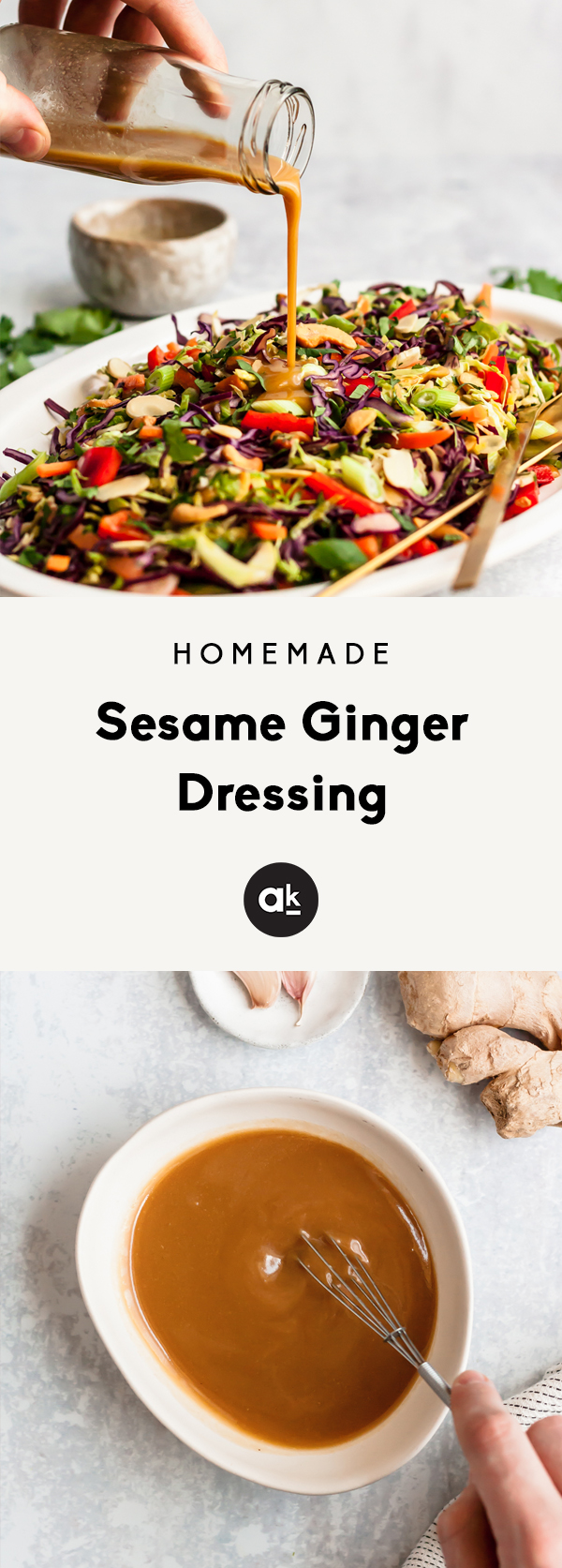 photo of sesame ginger dressing being poured on a salad
