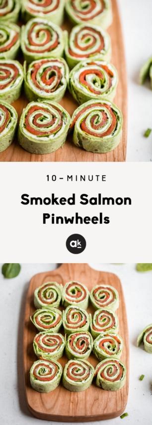 collage of smoked salmon pinwheels