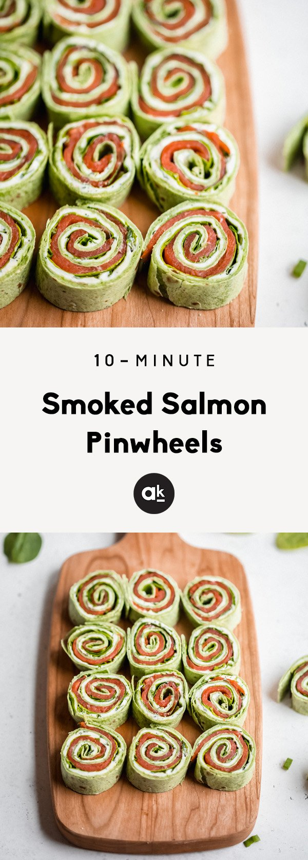 Deliciously savory smoked salmon pinwheels rolled up with a flavorful chive and dill cream cheese and tons of fresh spinach. This easy, healthy appetizer comes together in just 10 minutes for the ultimate party food or snack!