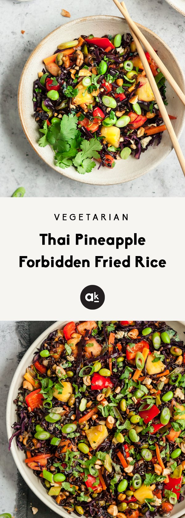 Incredible vegetarian fried rice made with low carb forbidden rice, gorgeous veggies like red bell pepper, carrots & red cabbage, and a hint of sweetness from pineapple. This healthy vegetarian dinner packs plenty of protein from eggs and edamame, too!