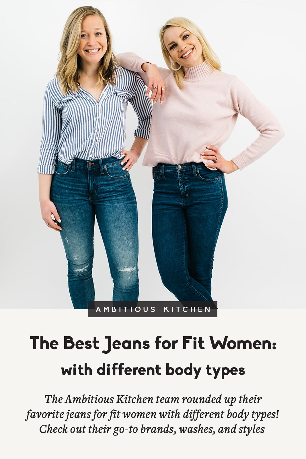 two blonde women posing in jeans with text overlay
