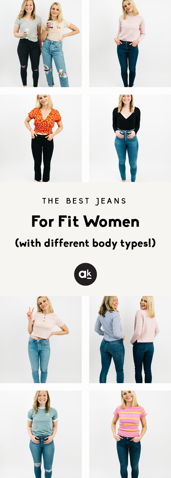 collage of the best jeans for fit women with different body types