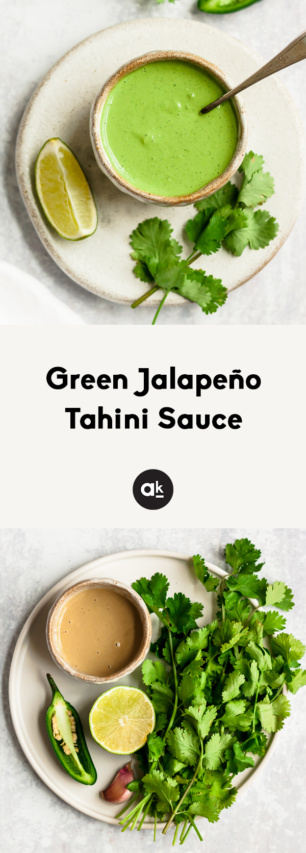 collage of green jalapeno tahini sauce with text overlay