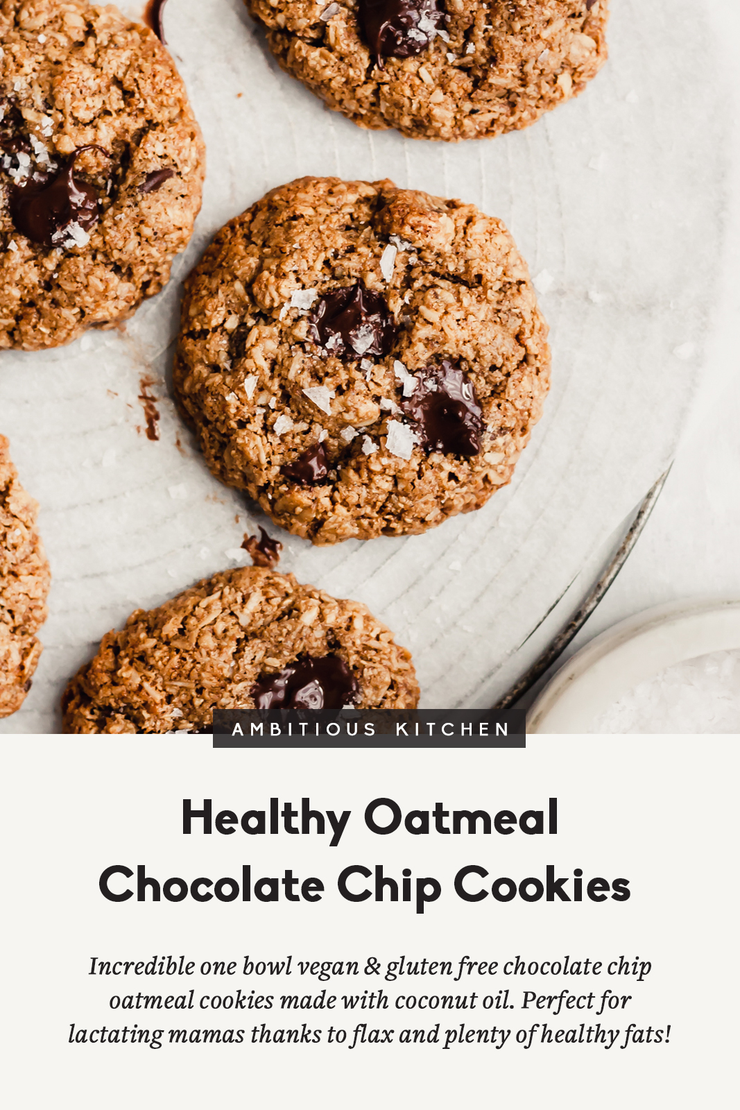healthy oatmeal chocolate chip cookies with a title underneath