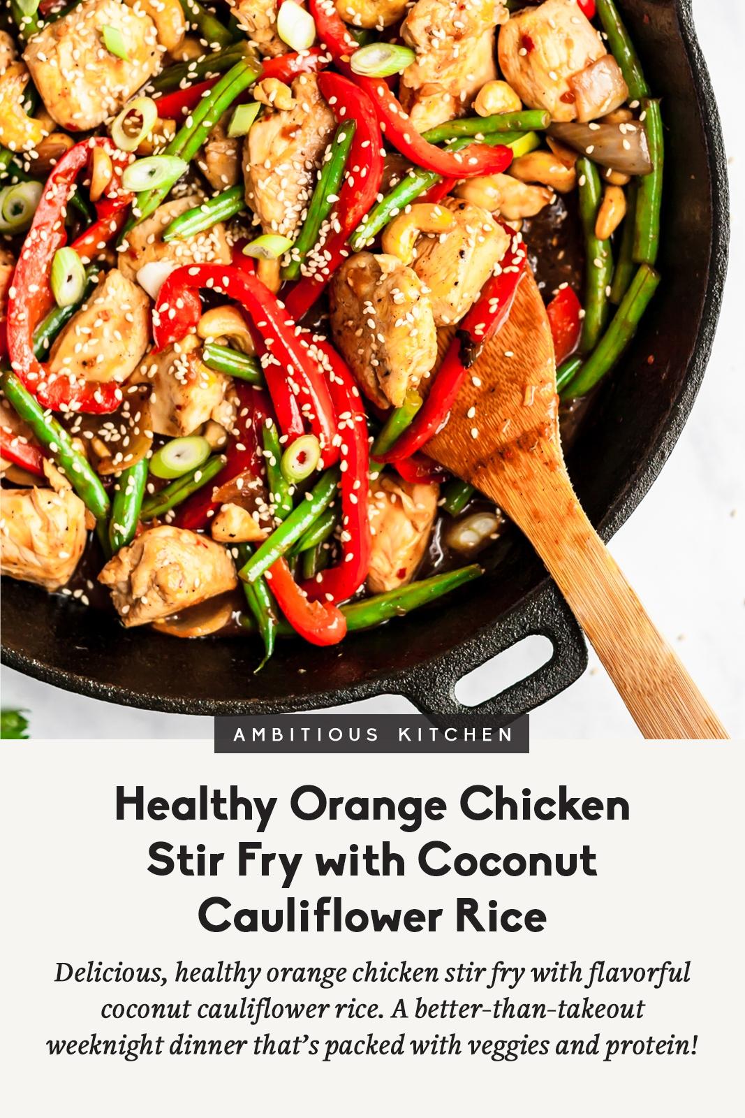 healthy orange chicken stir fry in a skillet with text underneath