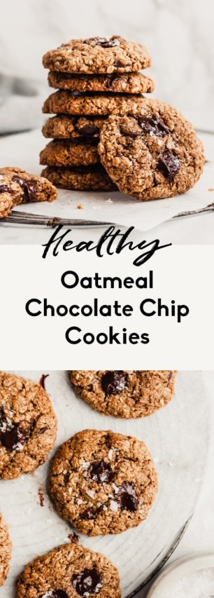 collage of healthy oatmeal chocolate chip cookies