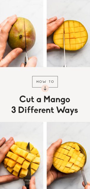 collage of how to cut a mango