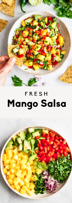 collage of mango salad in bowls with text overlay