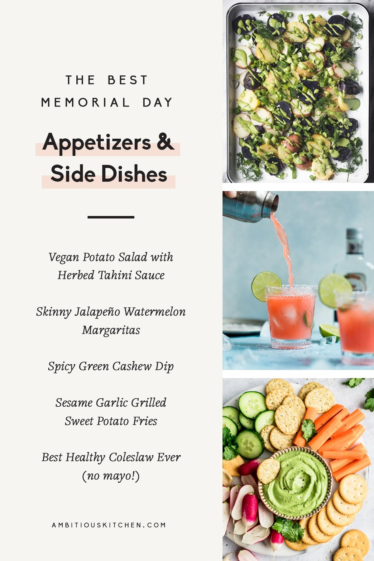 collage of memorial day appetizers & side dishes