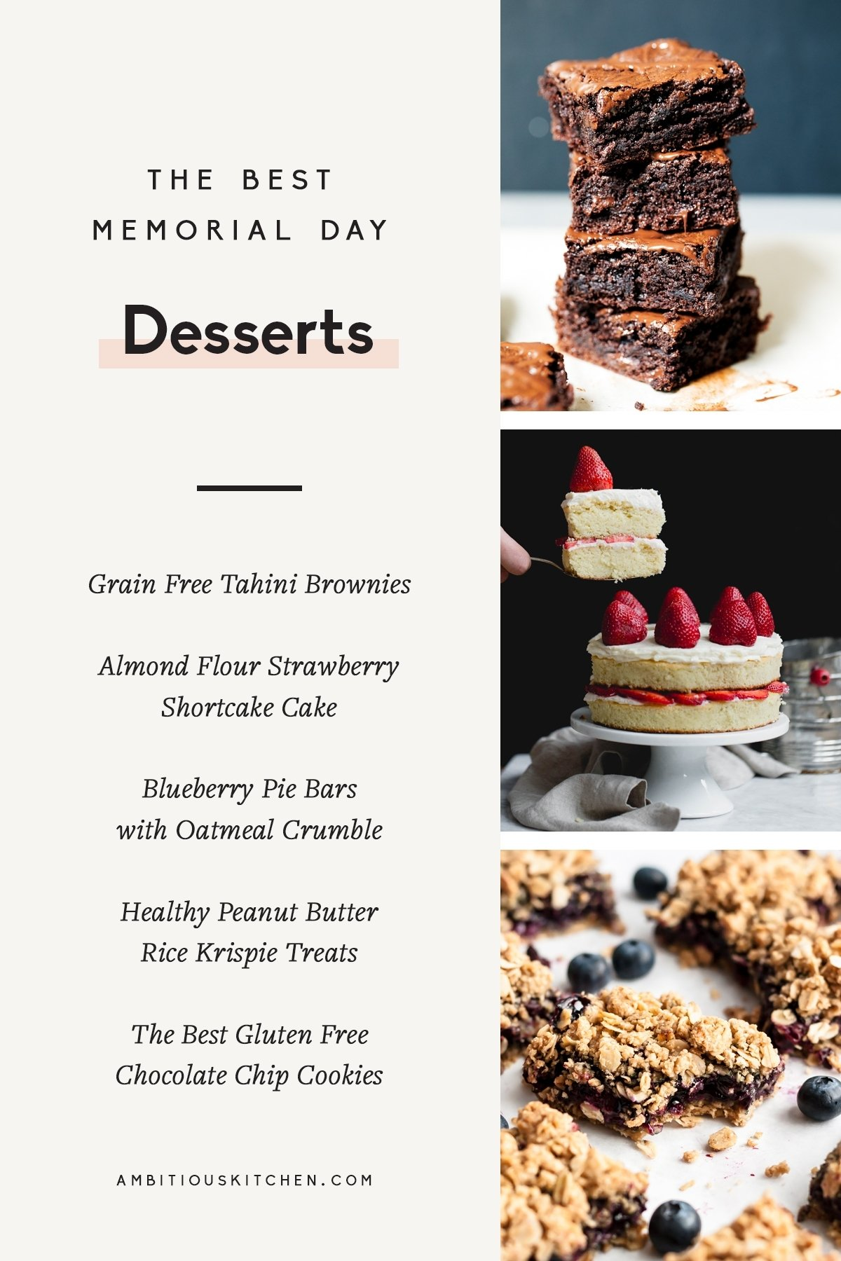 collage of memorial day desserts