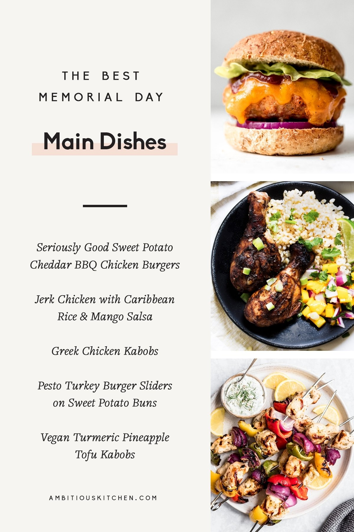 collage of memorial day main dishes