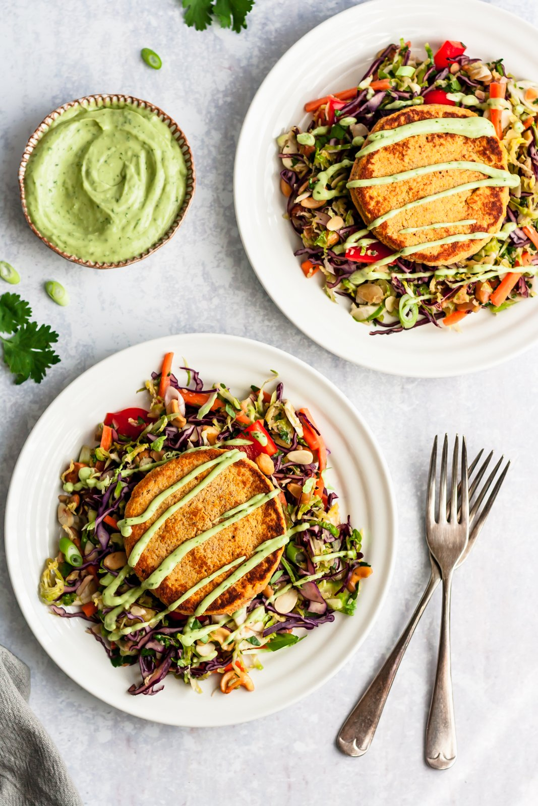 low carb salmon cakes on two plates with salad