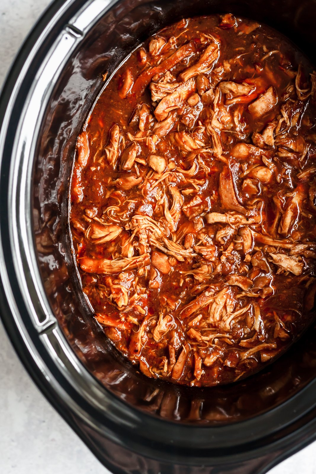 BBQ pulled chicken for pulled chicken sandwiches in a crock pot