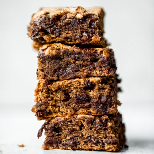 almond butter blondies in a stack