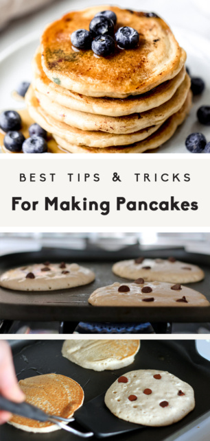 collage of the best tips for making pancakes with text overlay