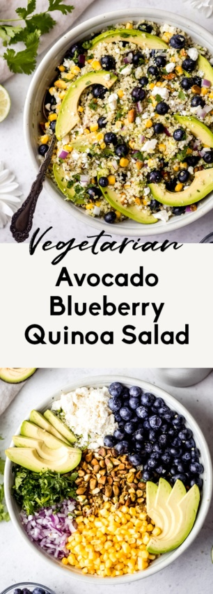 collage of blueberry quinoa salad