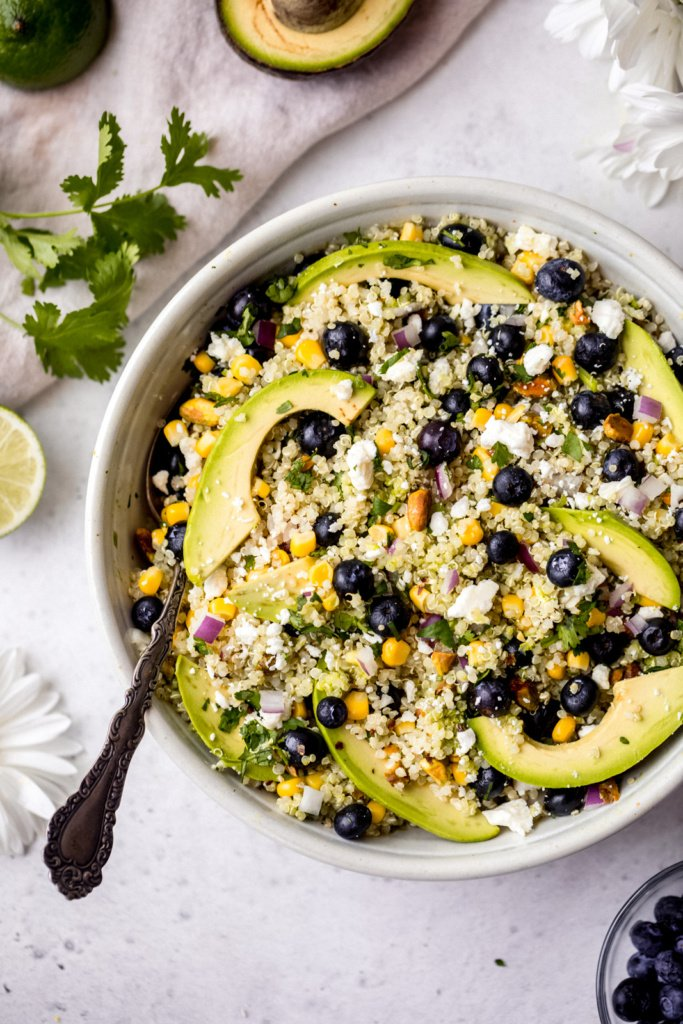 blueberry quinoa salad in a bowl