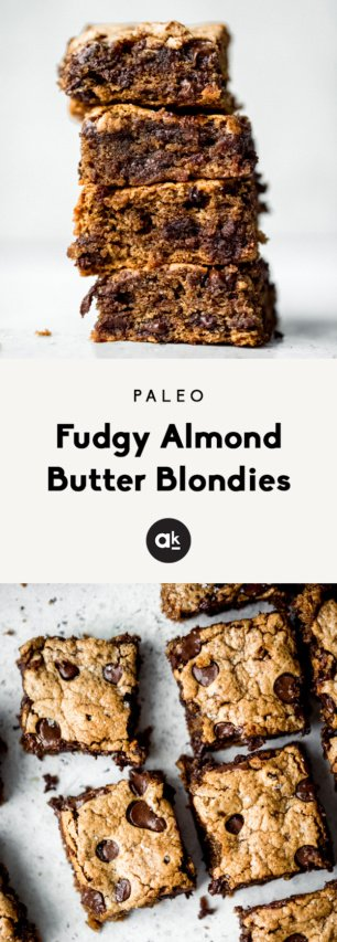 collage of almond butter blondies