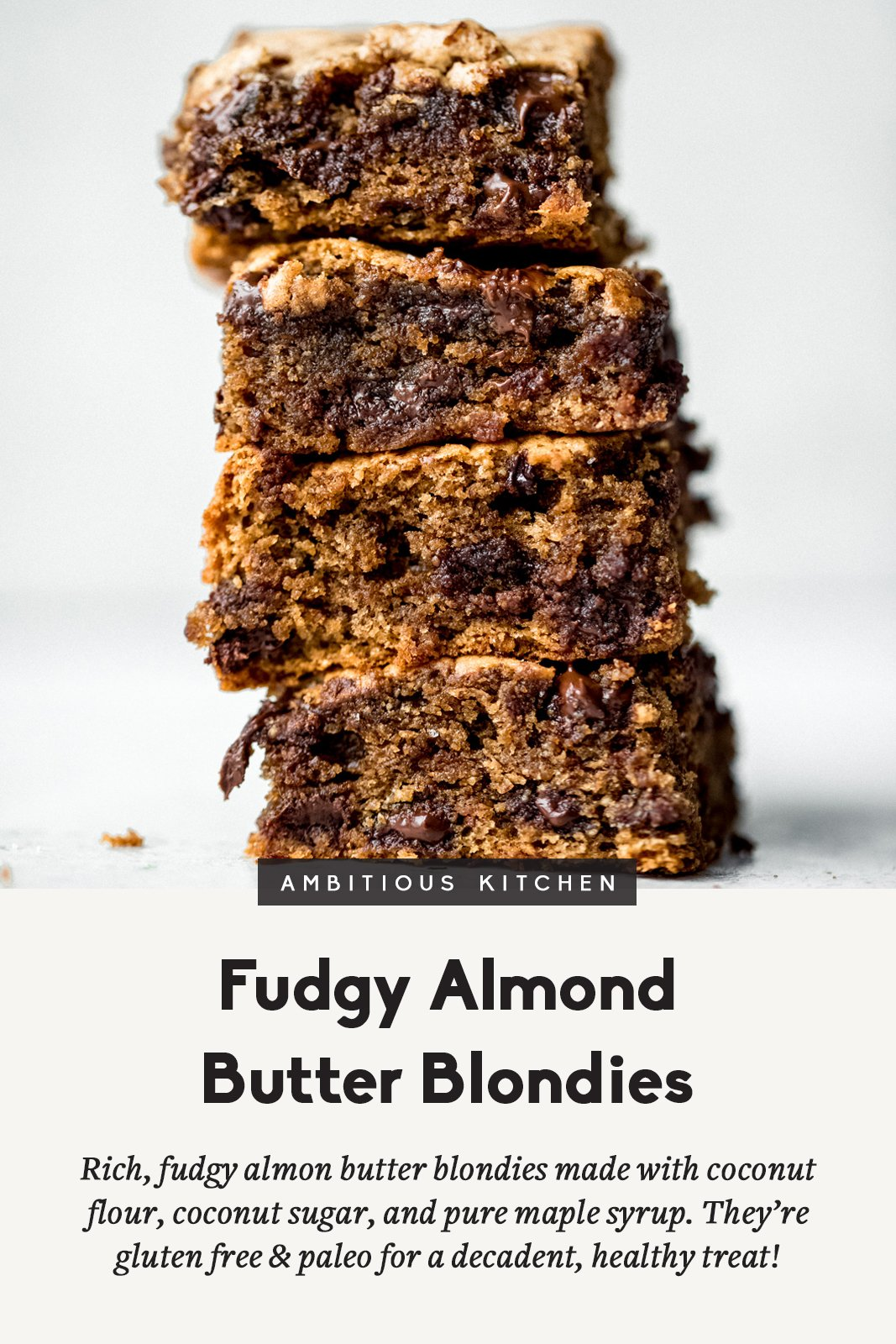 almond butter blondie photo with text overlay